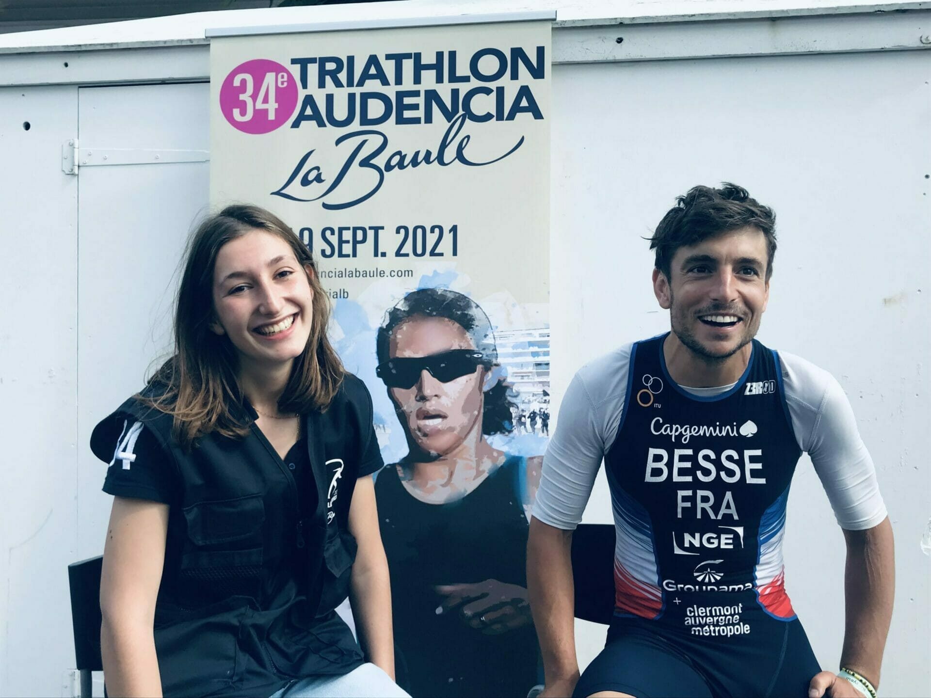 Alienor de Ginestous et Antoine Besse, parrain du 34e triathlon Audencia - La Baule